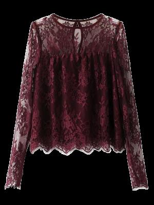 Blusa De Renda Em Crista - Vermelho Púrpura S