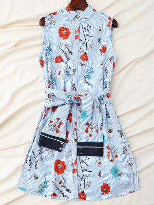 Floral Striped Shirt Dress With Sleeve Belt