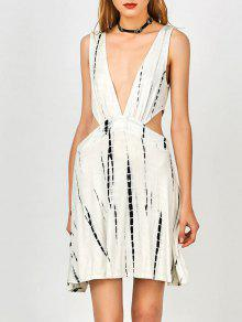 Tie Dye Plunge Open Side Tank Dress - White S