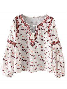 String Tiny Floral Blouse - White L