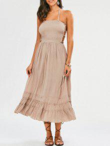 Halter Smocked Open Back Maxi Holiday Dress - Light Khaki M