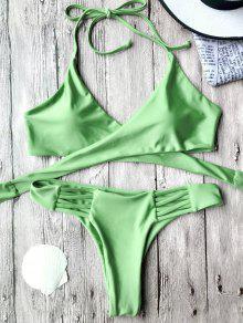 Top De Bikini Enveloppé Et Culotte Déchiré Croisées - Vert M