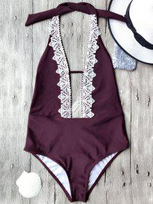 تغرق الرقبة عارية الذراعين قطعة واحدة ملابس السباحة - عنابي اللون L