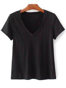 Camiseta De Algodón Con Cuello En V - Negro