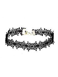 الزهور الكروشيه المختنق قلادة - أسود