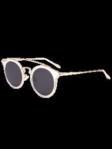 Ojo De Gato Metal Crossbar Mirrored Gafas De Sol - Transparente + Azul