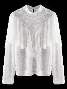 Blusa De Encaje A Rayas Con Capas - Blanco L