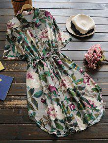 Vestido De Lino Con Cordón En Cintura De Flores Con Botones - Verde