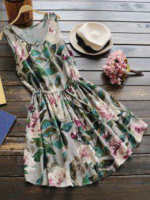 بلا أكمام الرباط الخصر فستان الكتان الأزهار - أخضر