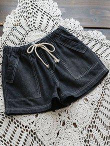 Buy Drawstring Denim Shorts Pockets - BLACK ONE SIZE