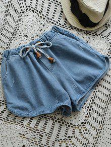 Elastic Drawstring Waist Denim Hot Shorts - Denim Blue