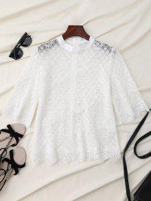 Sheer Scalloped Lace Bluse - Weiß L