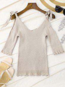 Scalloped Cold Shoulder Knitted Top - Apricot