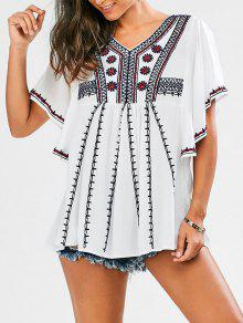 Embroidered Batwing Sleeve Tunic Top - White