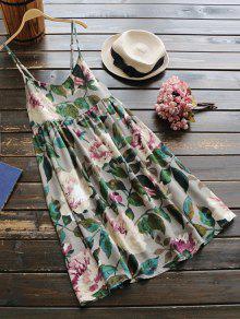 فستان العطلة طباعة الأزهار مثير - أخضر