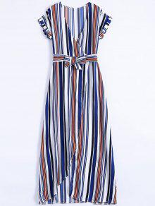 فستان ماكسي كهنوتي عالية الانقسام مخطط - أزرق M