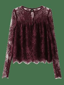 Gezackte See-Through Lace Bluse - Magenta S