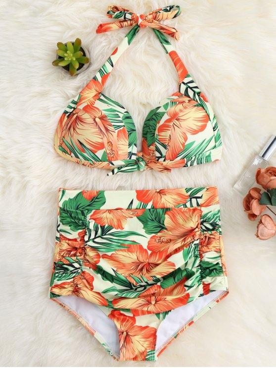 Traje de Bikini de Halter con Cintura Alta con Volantes con Estampado Floral - Rojo Anaranjado S