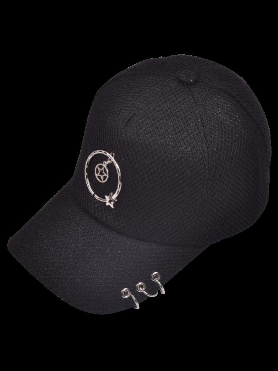 lady Metallic Pentagram Circles Baseball Hat - BLACK