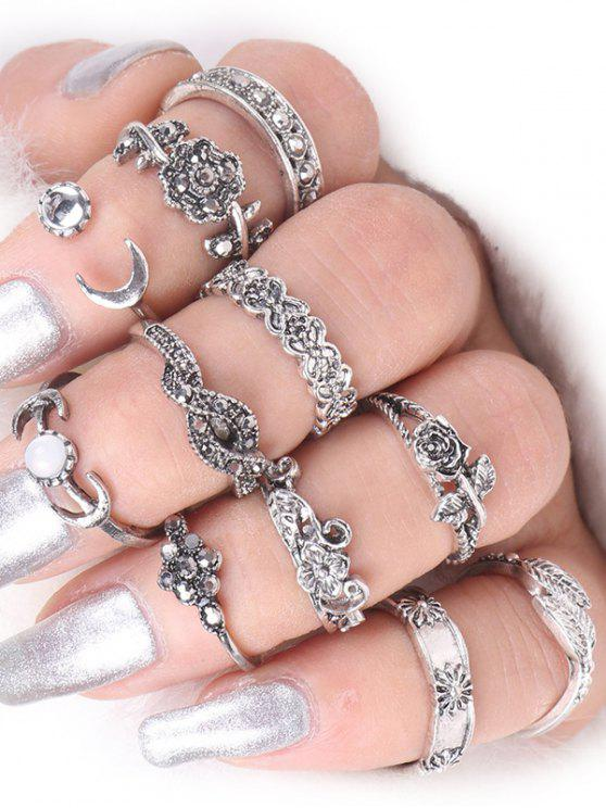 best Rose Flower Leaf Moon Alloy Ring Set - SILVER