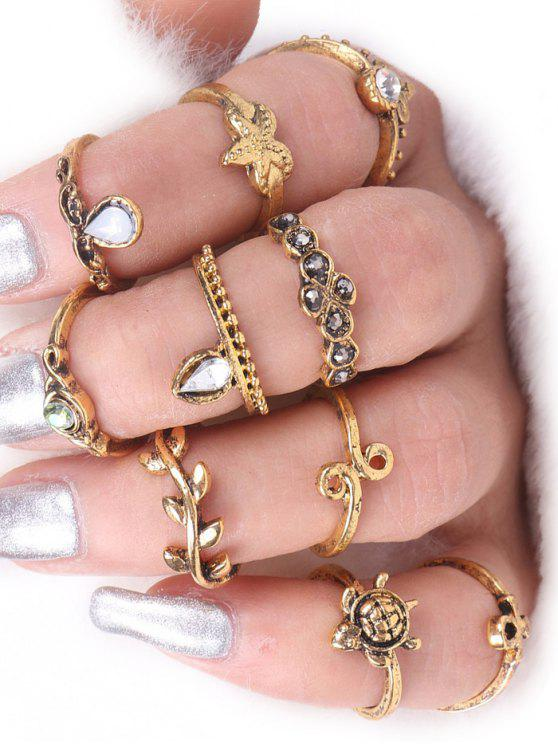 online Tortoise Starfish Leaf Teardrop Alloy Ring Set - GOLDEN