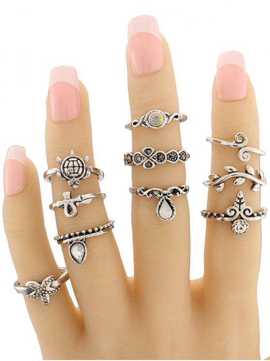 new Tortoise Starfish Leaf Teardrop Alloy Ring Set - SILVER