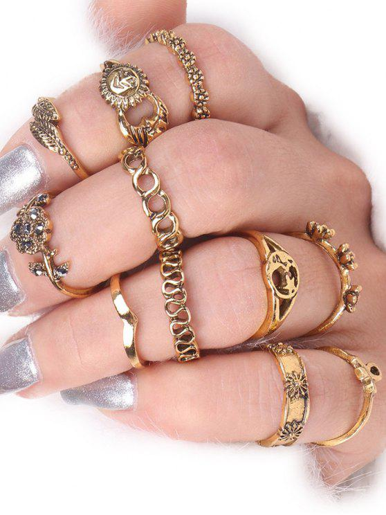 hot Moon Sun Star Flower Alloy Ring Set - GOLDEN