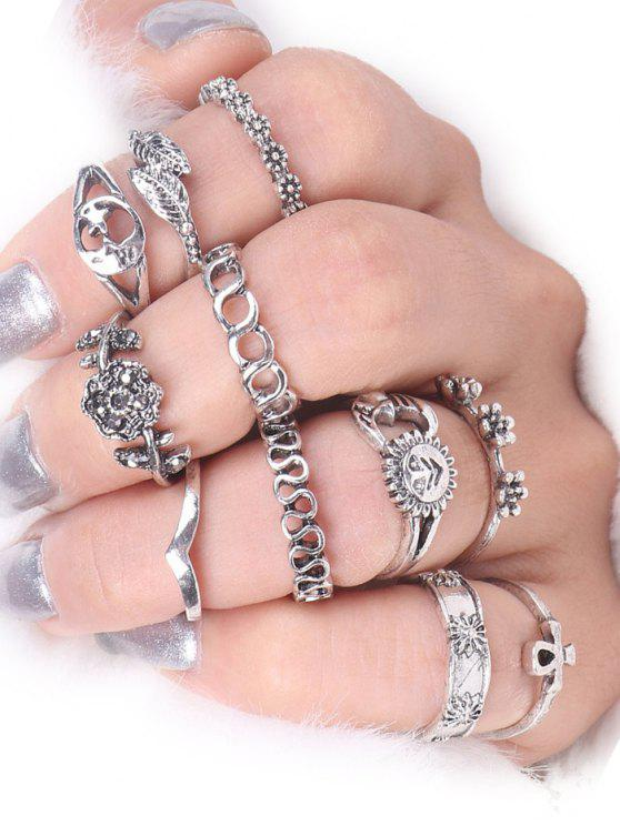 outfit Moon Sun Star Flower Alloy Ring Set - SILVER