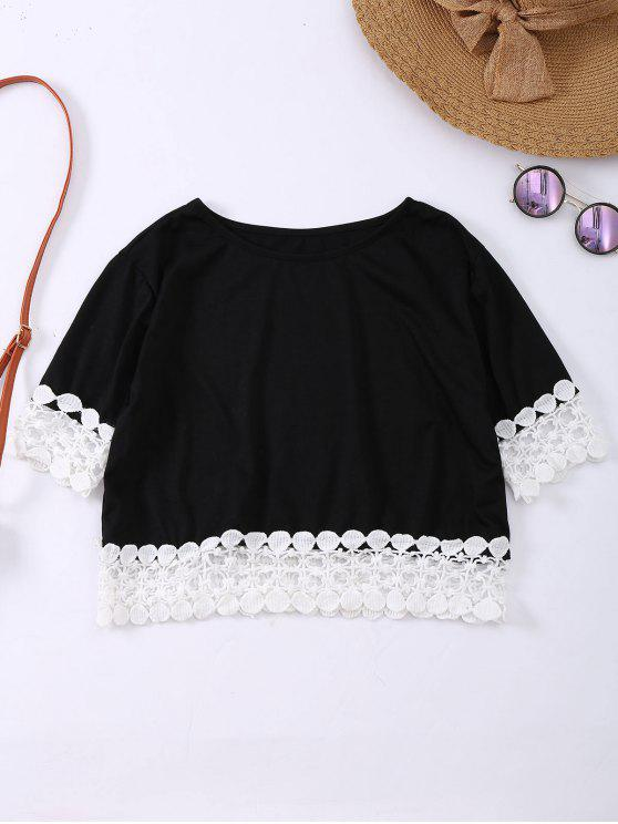 chic Oversized Lace Hem Crop Tee - BLACK S