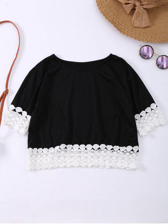 Camiseta de costura de dobladillo de encaje de gran tamaño - Negro L