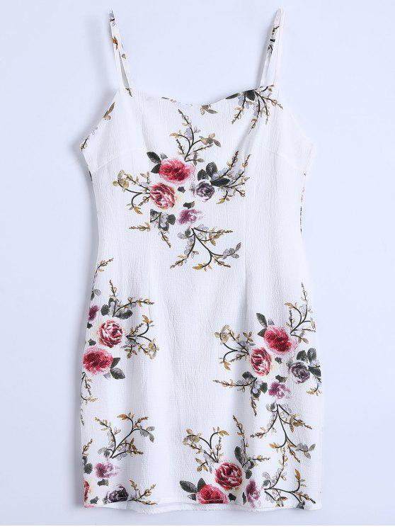 fancy Slip Floral Slinky Summer Dress - WHITE S