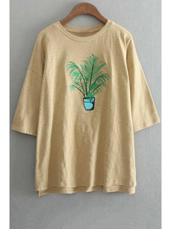 Planta de bordado cuello redondo 3/4 camiseta de la manga - Amarillo Un tamaño(Montar tam
