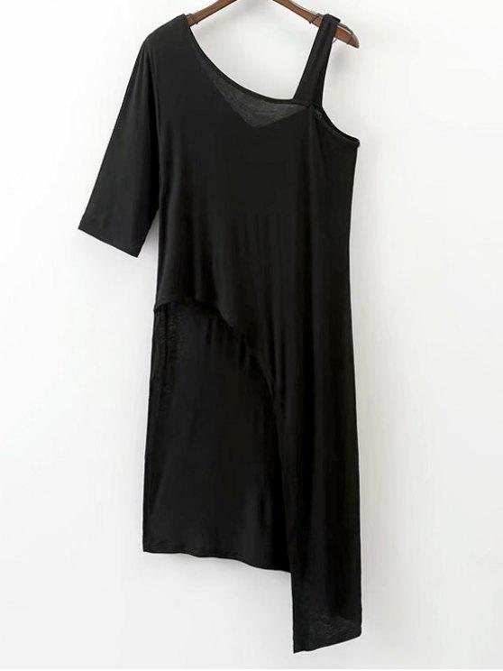 latest Asymmetrical Cold Shoulder Top - BLACK L