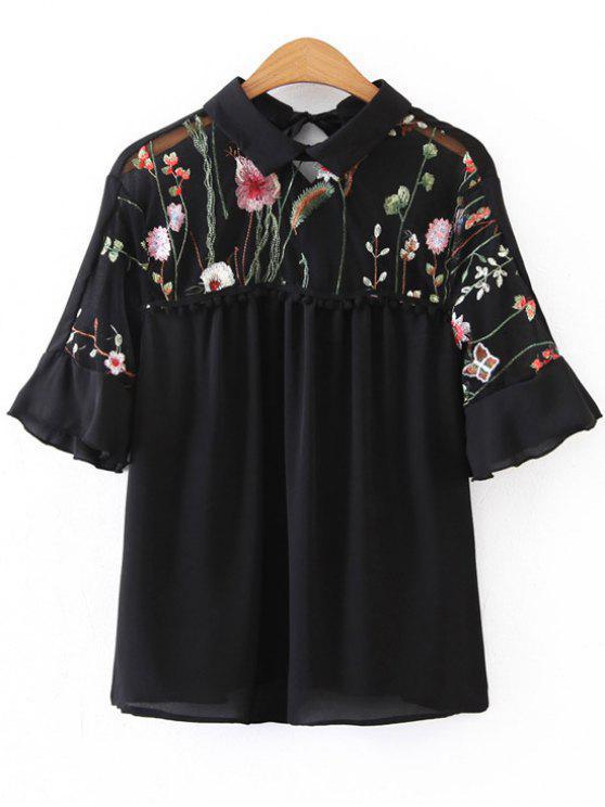 best Voile Panel Floral Embroidered Blouse - BLACK L