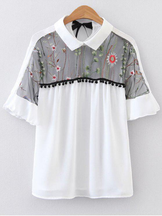 outfits Voile Panel Floral Embroidered Blouse - WHITE S
