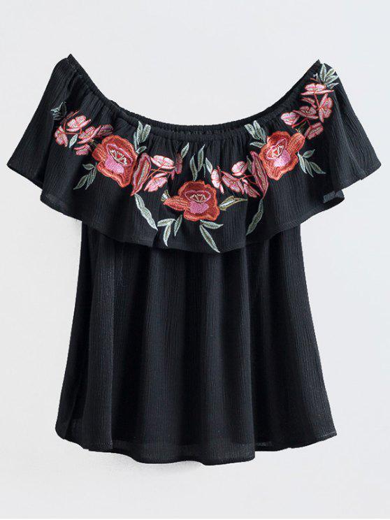 T-shirt noir en broderie à l'épaule - Noir L