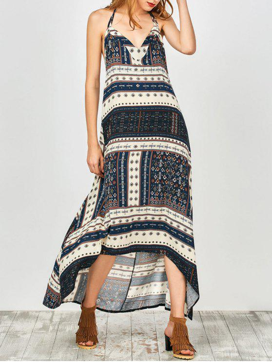 best Printed Halter High Low Dress - CADETBLUE M