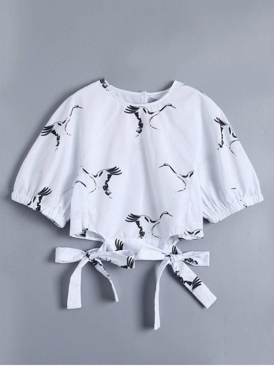 outfits Chinese Painting Crane Knot Side Blouse - WHITE L