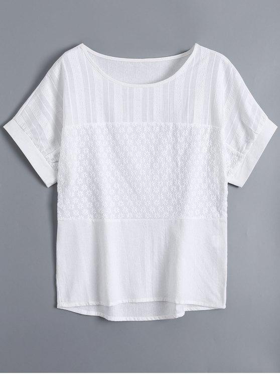 توب قصيرة الأكمام زهري مطرزة - أبيض L