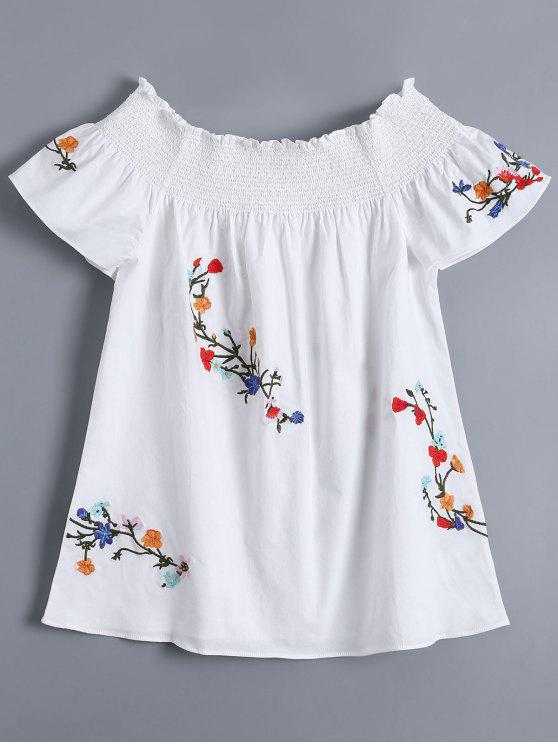 chic Off Shoulder Flower Embroidered Smocked Top - WHITE S