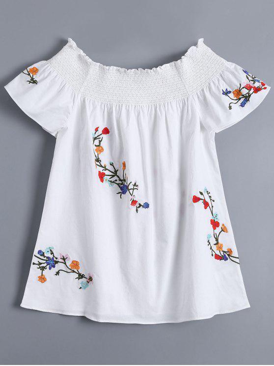 Top à épaules tombantes à col rond avec broderie florale - Blanc L