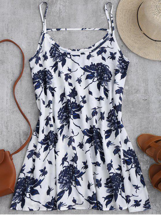 online Spaghetti Straps Floral Chiffon Flowy Dress - WHITE L