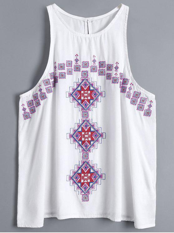 Geometría Embroidered Armhole Tank Top - Blanco S