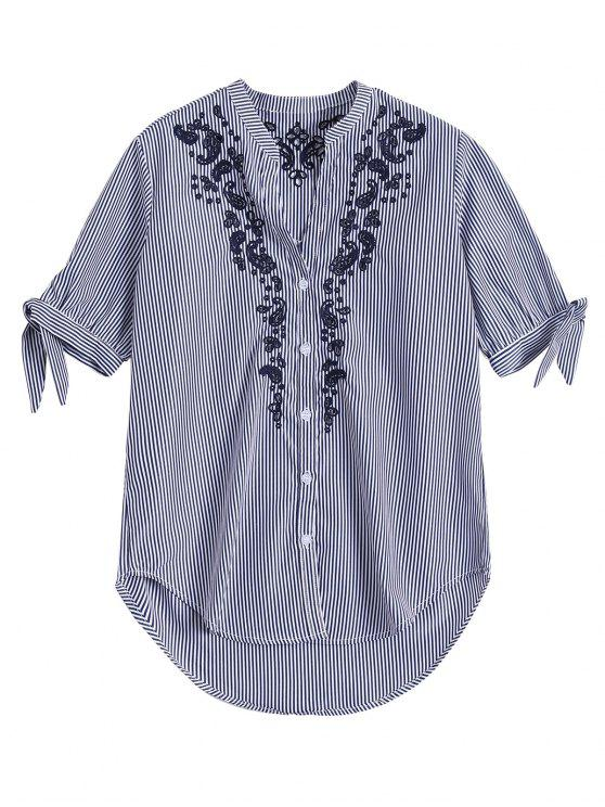 affordable Hollow Out Embroidered Striped Shirt - BLUE STRIPE M