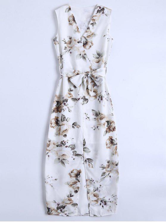 Slit mangas de cuello en V vestido floral maxi - Blanco S