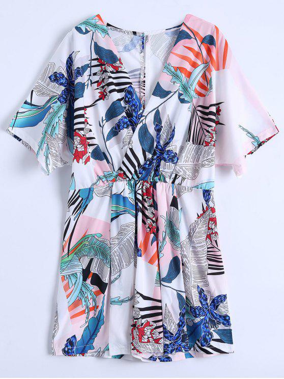 shops Leaf Print Plunge Surplice Romper - WHITE XL