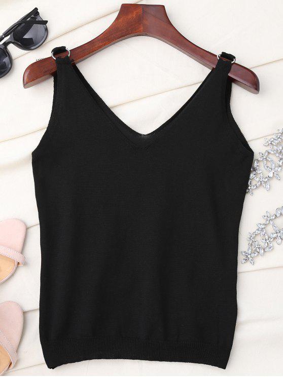 fashion V Neck Metal Circle Knit Tank Top - BLACK ONE SIZE
