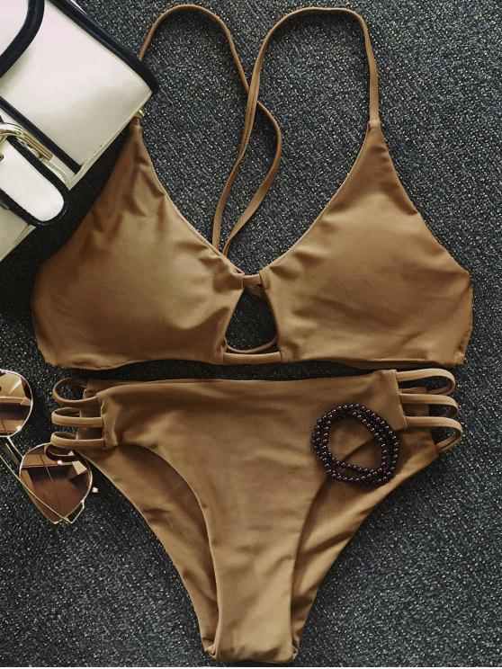 trendy Solid Color Elastic Cami Bikini Set - COFFEE M