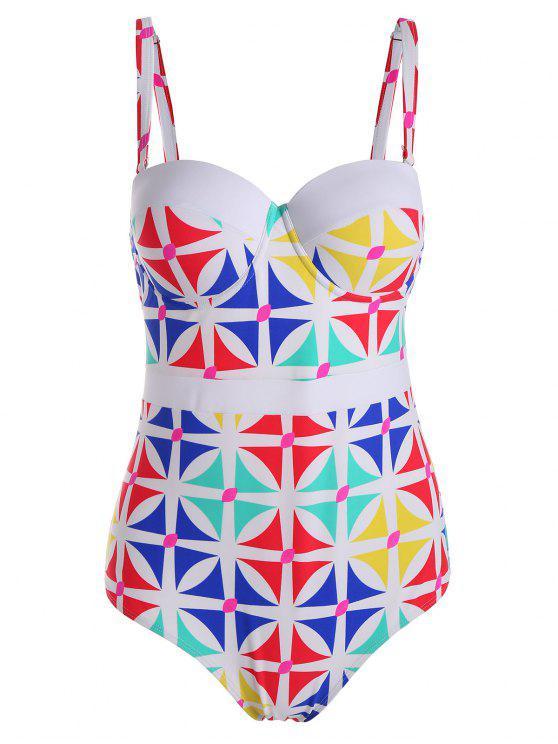 Impresso Padded Plus Tamanho One Piece Swimsuit - Branco 4XL