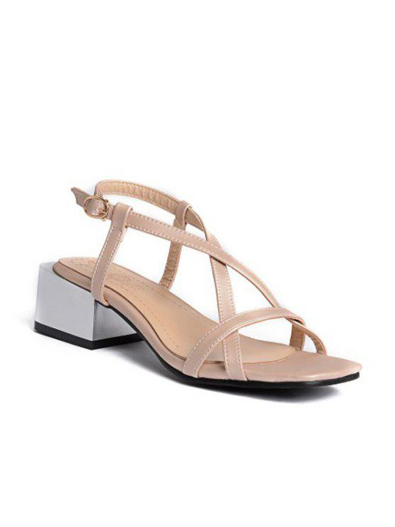 best PU Leather Mid Heel Sandals - APRICOT 38
